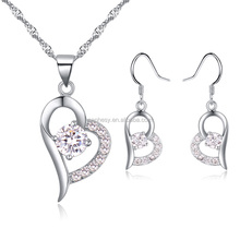 Crystal Heart Jewelry Set Fashion Accessory