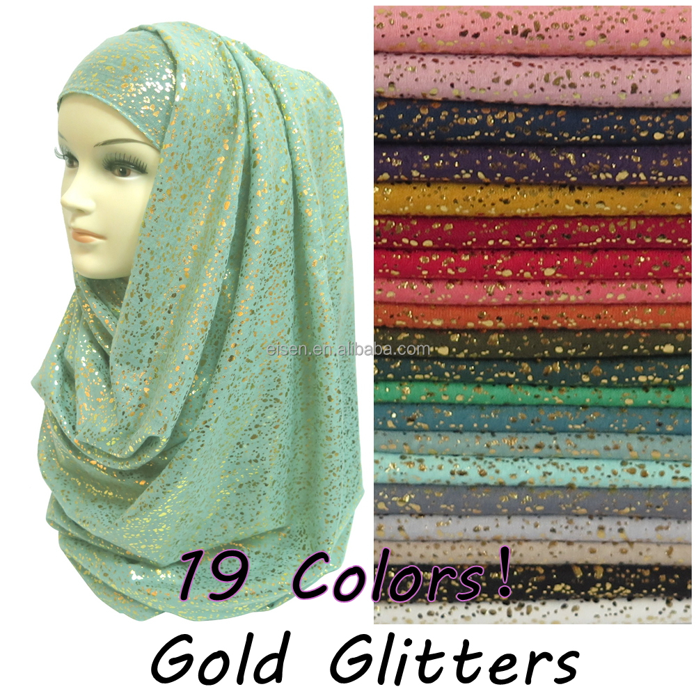 Hiqh Quality Gold Glitter Shimmer Scarf Shawl Head Wrap Plain Color Long Shawls Muslim Hijab Scarf