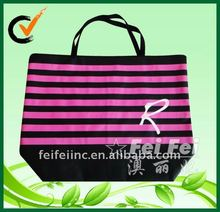 Non woven big zip up lockable shopping bag with stripe printing