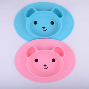 Mini Size Silicone Baby Placemat Feeding Mat Bear Silicone Mat Plate With Strong Suction baby plate