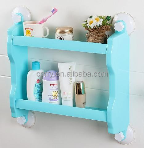 plastic two layers bathroom storage rack/kitchen shelf with strong sucker