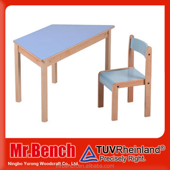 Kids Study Trapezoidal Desk With Chair For Kindergarten,primary School