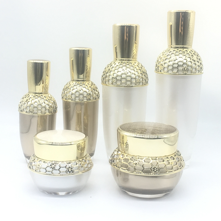 Airless cosmetische verpakking 15g/30g/50g/50 ml/80 ml/100 ml/120 ml luxe goud zalfpotje container acryl lotion spuit/pomp fles