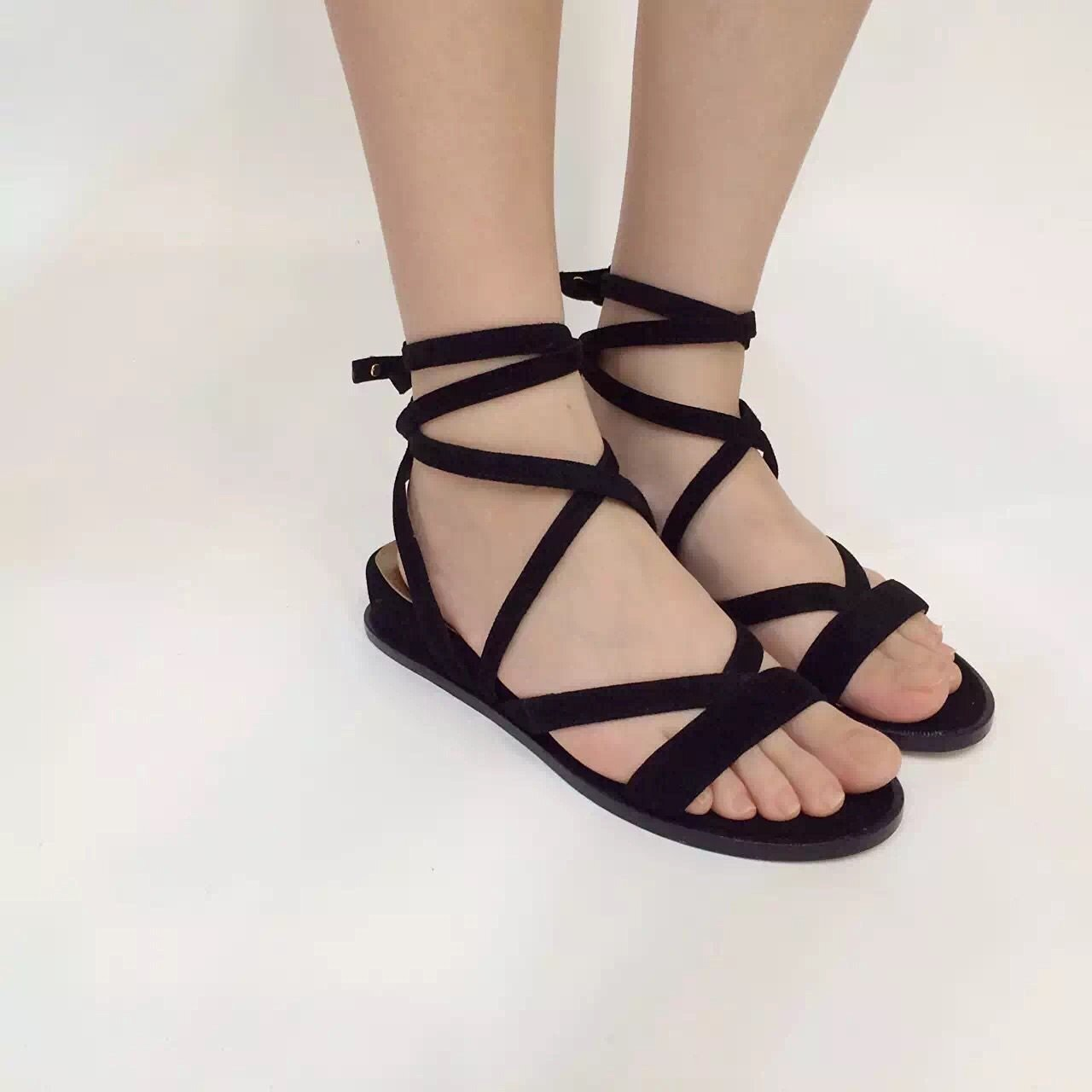 1461cb1c6b8 ALEXANDER WANG Gladiator sandal crafted from textured nappa leather Leather  upper Open toe Lace-up