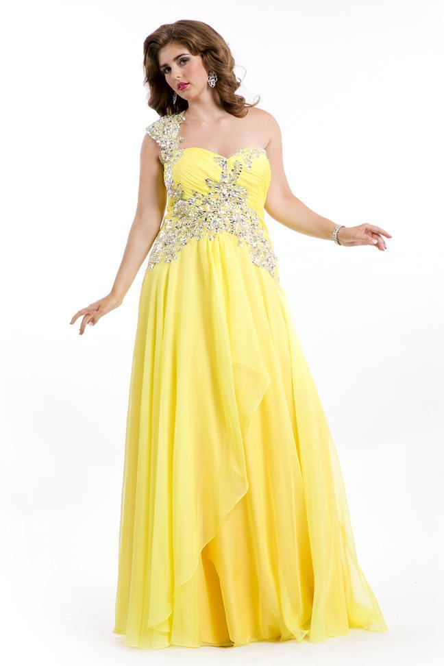 d028d27dc37c9 Get Quotations · Beaded One Shoulder Pleated Yellow Plus Size Mother of the Bride  Dresses Plus Gowns Summer Style