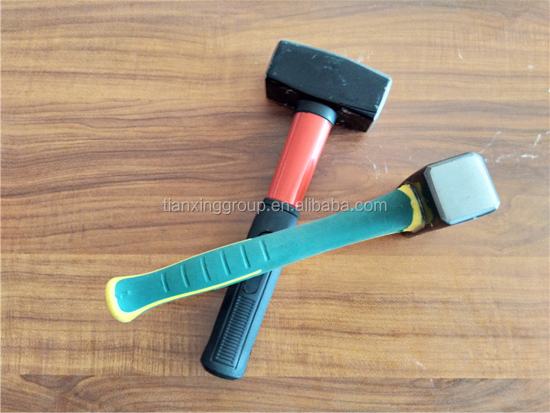 safety fixed Fiberglass handle with 2-tone soft grip stoning mason's hammer