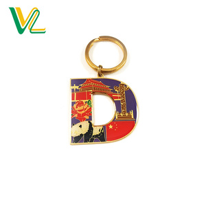 Custom Fashion Gold Plating Soft Enamel with Glitter and Epoxy Small Split Ring D alphabet 3D keychain letter for Gift