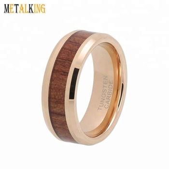 8mm Rose Gold Womens Mens Wedding Bands Tungsten Carbide Ring Koa