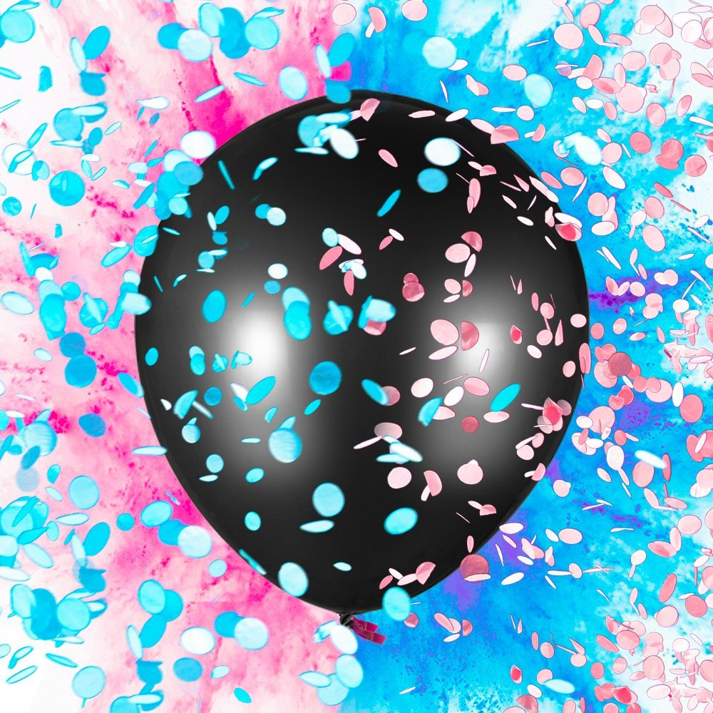 "Sepco 36"" Gender Reveal Balloon for Baby Shower - Come with Pink Blue Confetti and Powder"