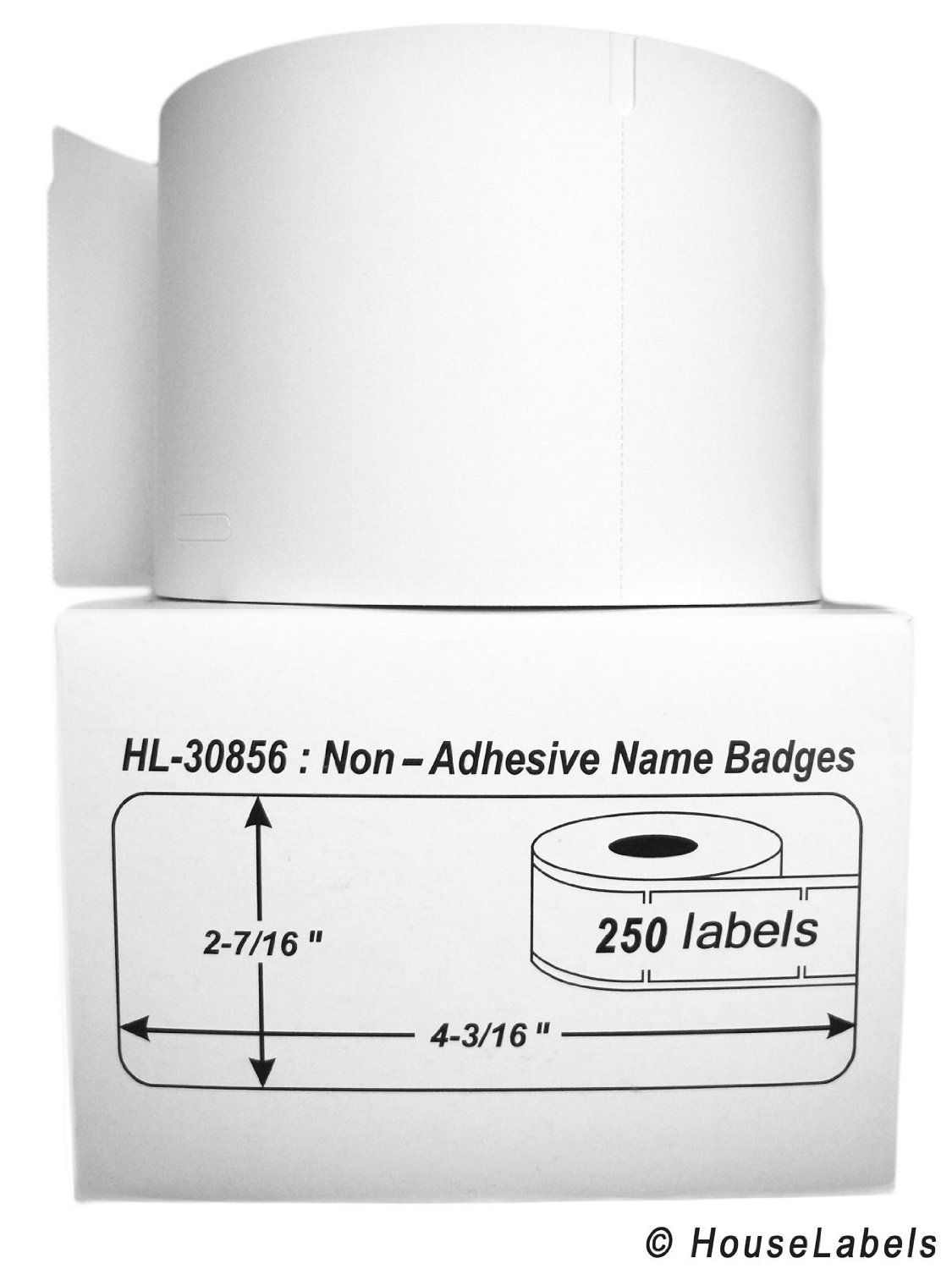"""4 Rolls; 250 Labels per Roll of DYMO-Compatible 30856 Non-Adhesive Name Badges (2-7/16"""" x 4-3/16"""") -- BPA Free!"""