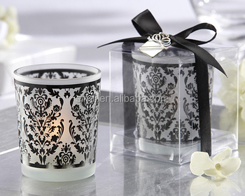 Damask Traditions Frosted Glass Tea Light Holder Wedding Decoration