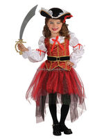 Child Princess Of The Seas Fancy Dress Pirate Costume Hat Ship Captain Caribbean Girls Costume AGQ4105