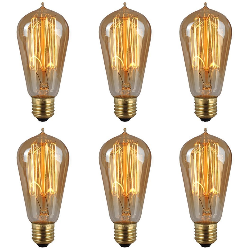 6-Pack Vintage Edison Light Bulbs-60W E26/E27 Base Dimmable Replacement Light Bulbs for Wall Sconces Lights, Antique Squirrel Cage Lights, Pendant Island Ceiling Chandelier Light Lamps, Amber Warm