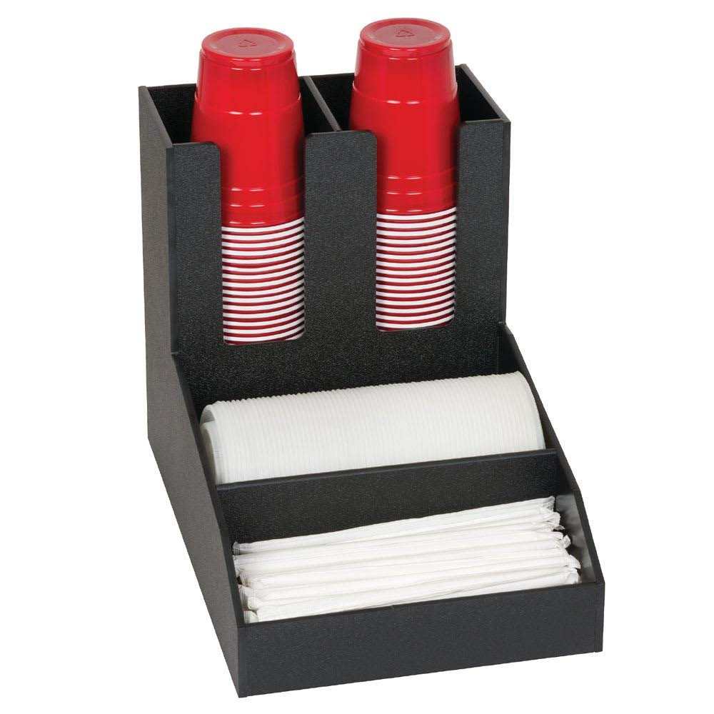 "TableTop King CLCO-2BT 4-Compartment Cup, Lid & Straw Organizer - 11.13"" x 9.5"", Polystyrene, Black"