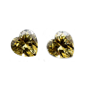 Hot synthetic heart shape yellow loose cubic zirconia cz stone