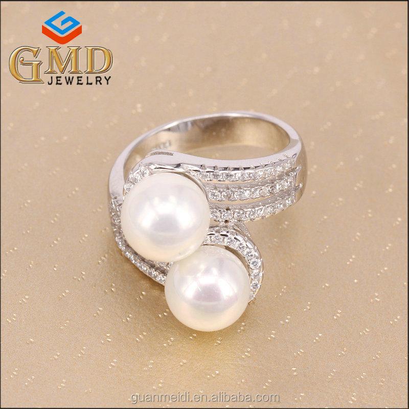 54ed7e087312 Alibaba expreso por mayor personalizada doble diamante perla anillos comprar  en línea