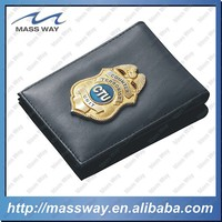 custom for police PU metal leather wallet badge holder