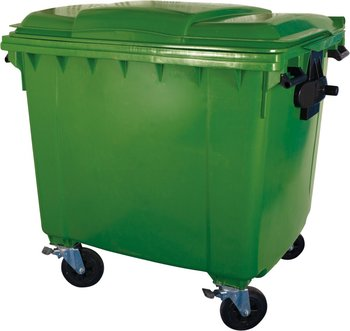 1100 liters green color garbage can with recycle bin with wheels and lids
