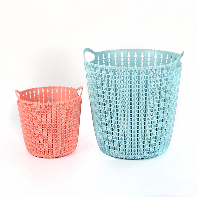Hot sales rattan plastic laundry basket with lid