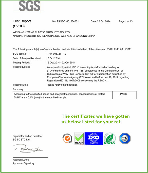 Id 1 4 3 Fda Certificates Soft Pvc Flexible Hose Food