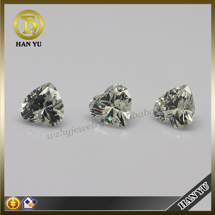 Wuzhou jewelry stones heart cut dazzling white cubic zirconia price