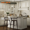 Rustic country style white solid wood kitchen cabinet design