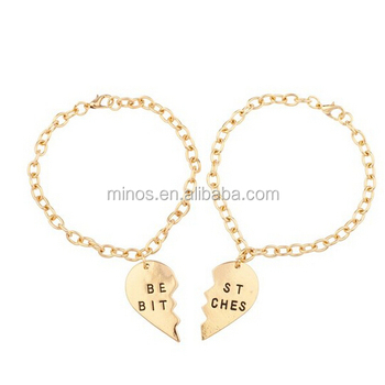 Gold Heart Bracelet Whole Best Es Bff Friends Forever Set