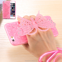 Bling Bling 3D Diamond Butterfly Phone Holder Stander for iPhone 5 5s TPU Gel Back Covers