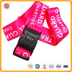 Cheap price Custom logo printed Luggage straps polyester Luggage belts with TSA lock