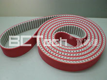special processing indsutrial PU tooth timing belt with red rubber coated