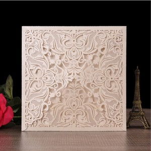 2019 new style lace laser cut korean luxurious wedding invitation cards