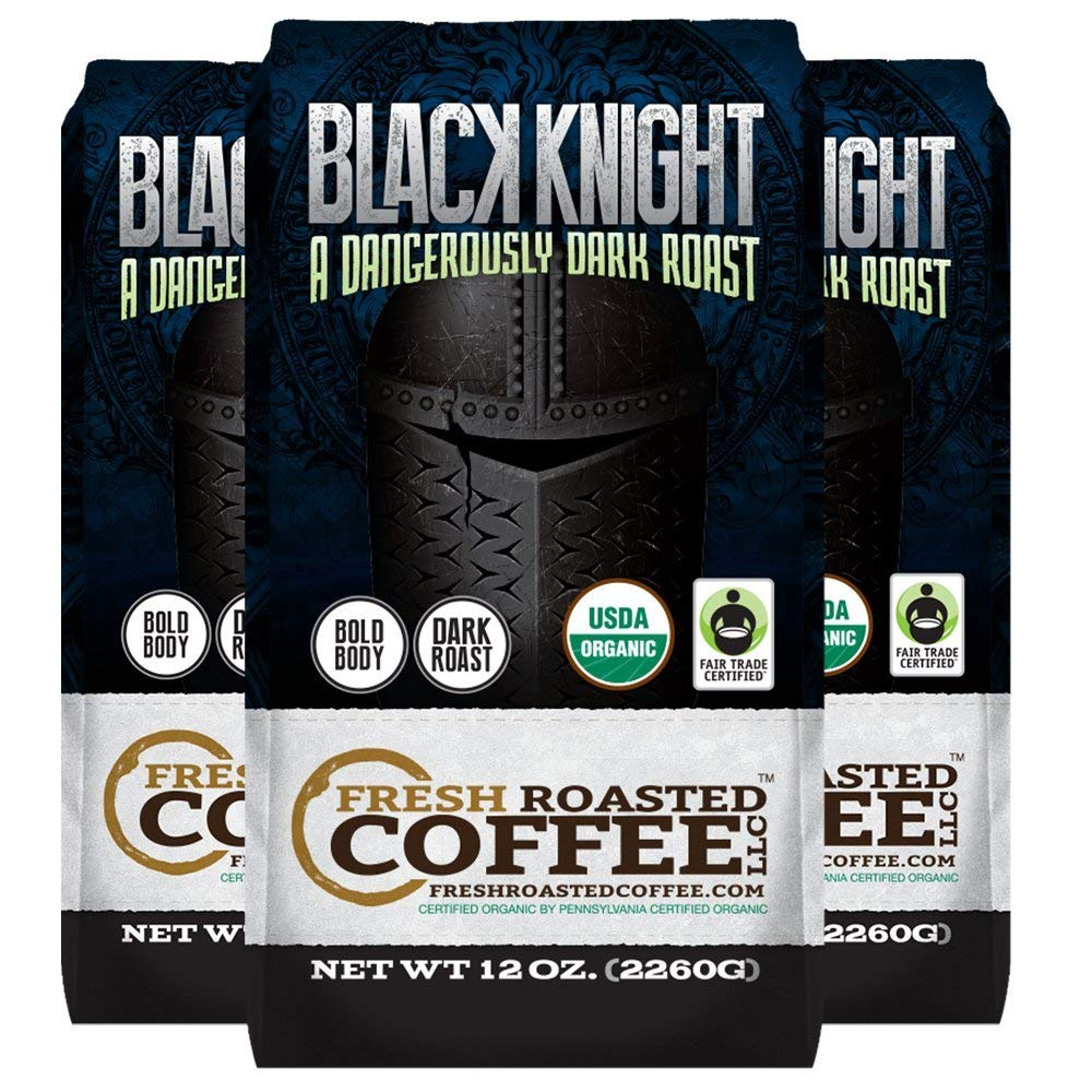 Organic Black Knight Dark Roast Coffee, 12 oz. Ground Bags, Artisan Blend, Fair Trade, Fresh Roasted Coffee LLC. (3 Pack - Ground)