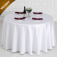 Made in china wedding 120 inch round white 100% polyester jacquard damask party table cloth
