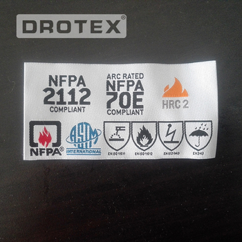 China customized durable washing main sewing woven label for flame retardant clothing