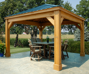 Solid thermowood outdoor hemlock gazebo pavilion