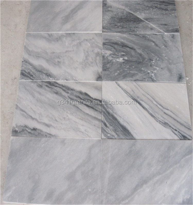 Cloudy grey mixed white carrara marble round shaped mosaic tile