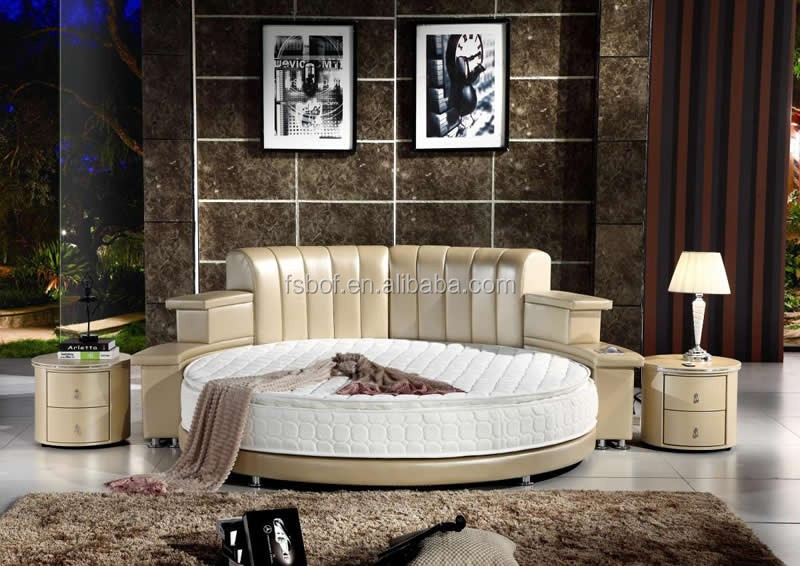 Bedroom Furniture Led Light Round Bed With Music Loudspeaker Cy006 Product On Alibaba