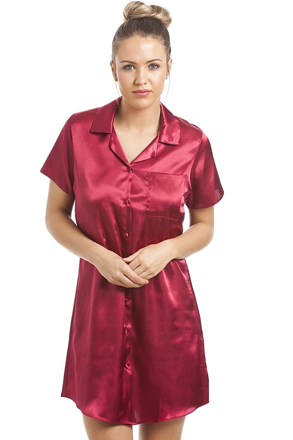 e9f5eb3670 Camille Womens Ladies Luxurious Knee Length Red Satin Nightshirt