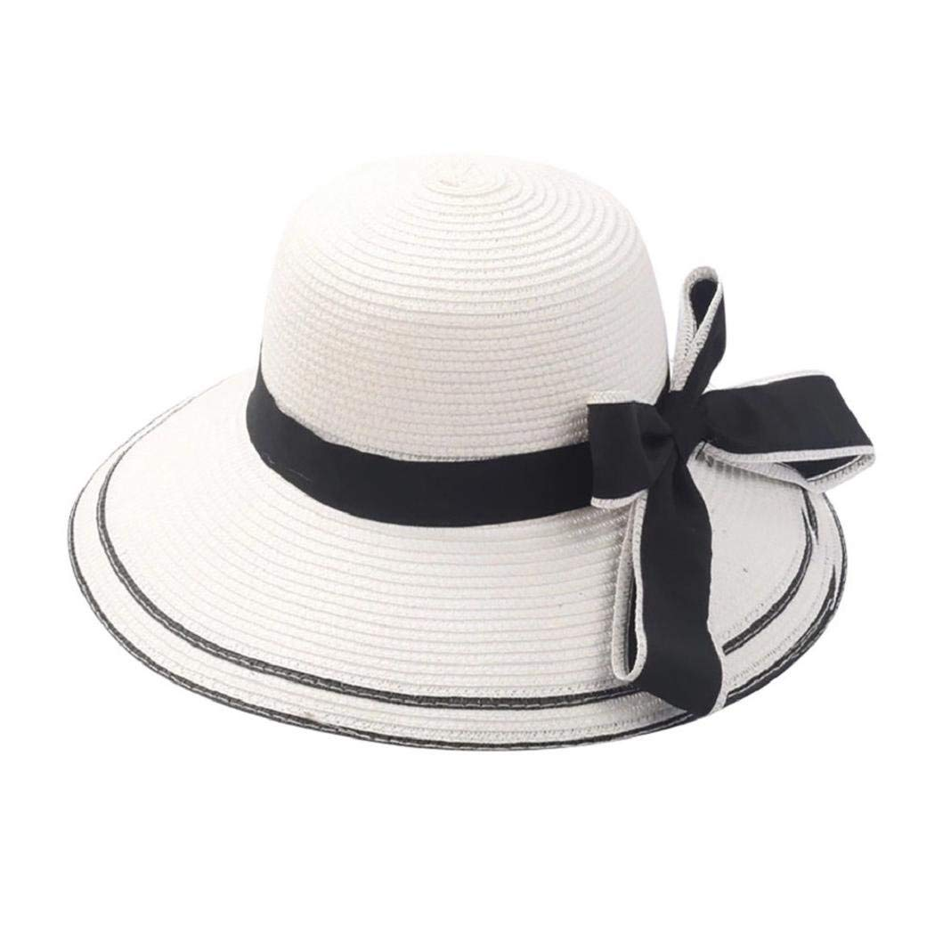 ShenPourtor Women/Lady Summer Cool Wide Brim Straw Sun Hat Floppy Foldable WIth Big Butterfly Band (White)