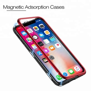 Magnetic Case for iPhone X Clear Tempered Glass Magnet Adsorption 8 7 for iphone7 8 7 plus