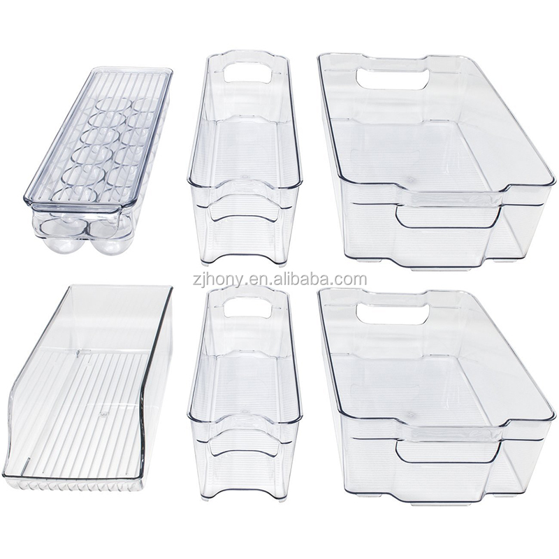 Set of 6 - Plastic Fridge Organizer with Handles BPA Free Clear Refrigerator Freezer Bins