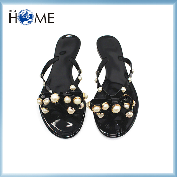 New Arrival Summer Butterfly Knot Pearl Slippers For Women Crystal Beach Shoes On Sale