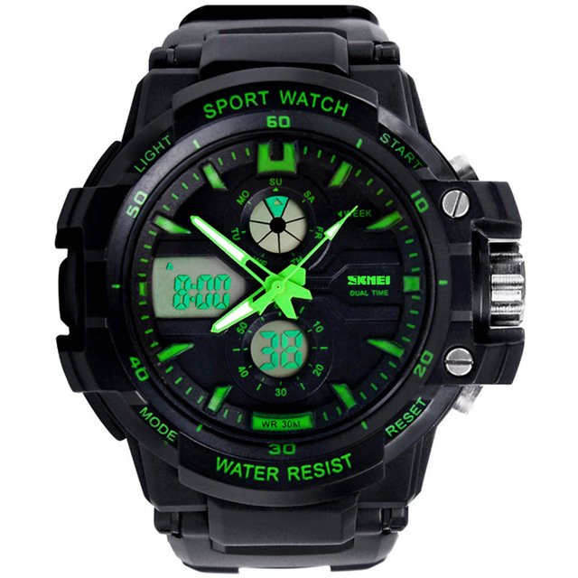 SKMEI 0990 Luxury Sport Outdoor Digital LED Wristwatches Men Waterproof Dual Display Military Army Top Brand Watches
