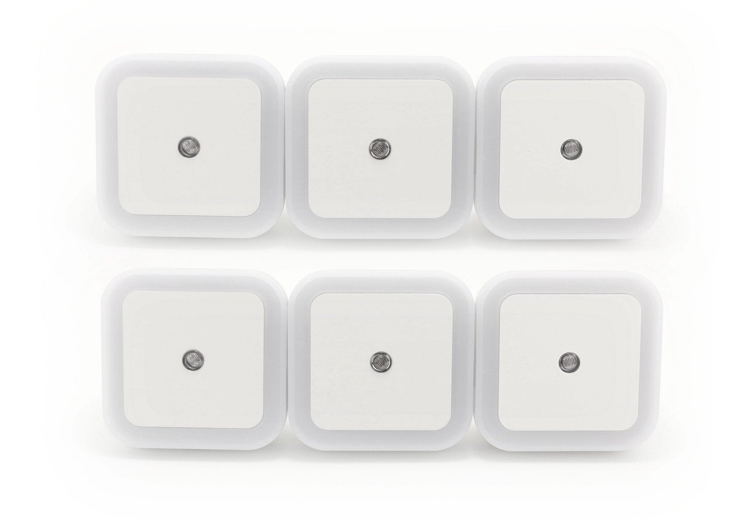 Fancystyle 0.5W Plug in LED Night Light Lamp with Smart Sensor Dusk to Dawn Auto Turn on/off,Soft Brightness for Bathroom,Bedroom (6-pack white square)