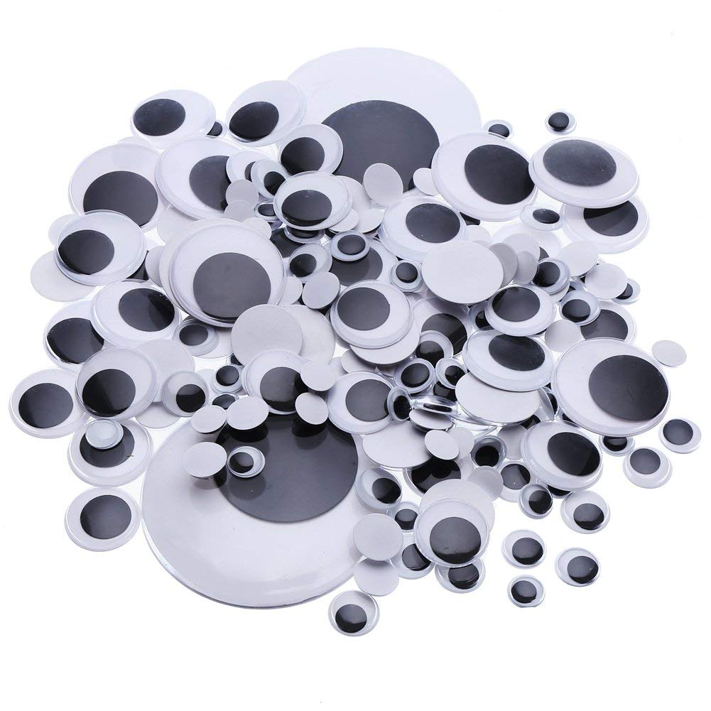 600 Assorted Self Adhesive Stick On Wiggly Googly Eyes In 5 Size 6-12mm Funny