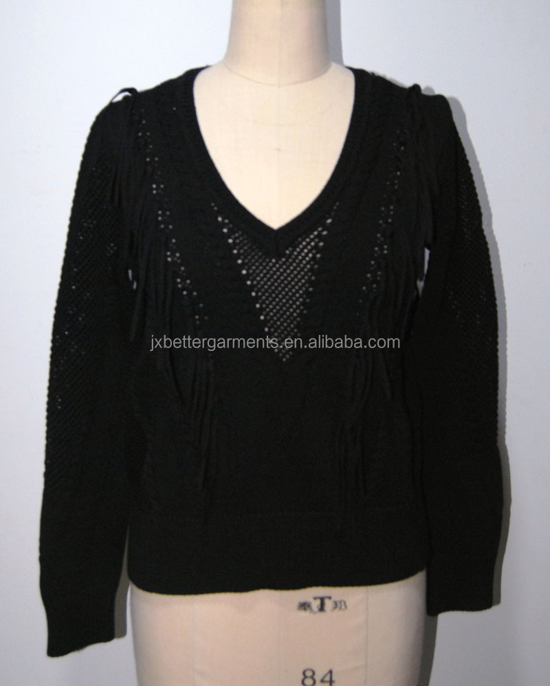 BGAX16341 Machine knitting V neck sweater women hollow pullover