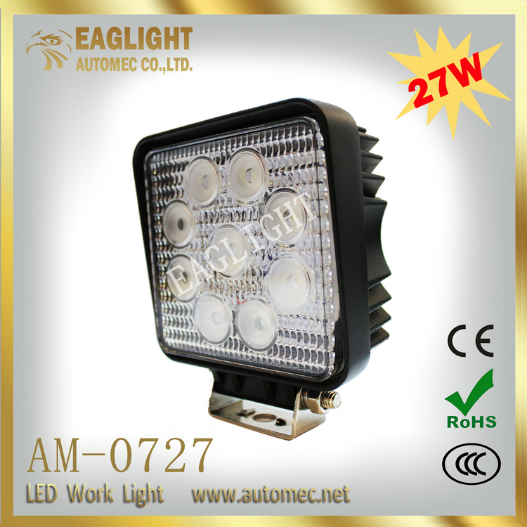 High quality IP 67 square shape waterproof Black 27w work led light For Car