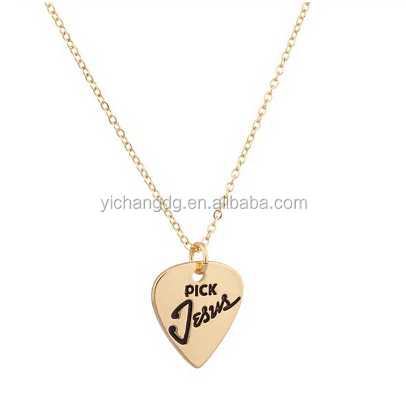 Gold Stainless Steel Jesus Christ Pendant, Guitar Pick Jesus Christ Inspiration Pendant Necklace