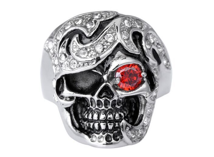 New 5PCS punk Alternative personality skull Stainless steel rings for men New Red Ruby Eye Skeletons Smile of Death Ring Inlaid