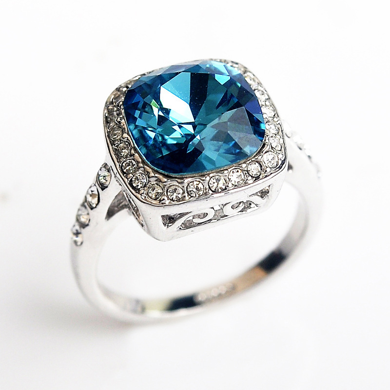 Italina Blue Cz Diamond Wedding Rings For Women Fine